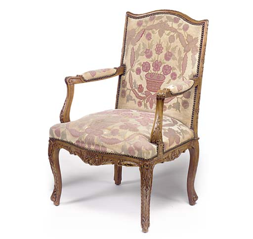 A FRENCH BEECH FAUTEUIL