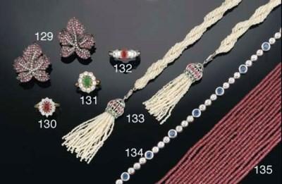 A seed pearl and gem sautoir