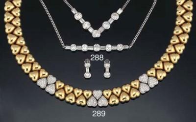 A diamond set necklace, bracel
