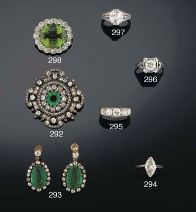 A Victorian diamond and green