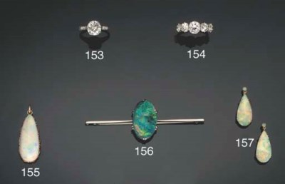 A pair of opal earrings and an