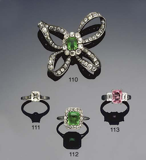 An emerald and diamond panel r