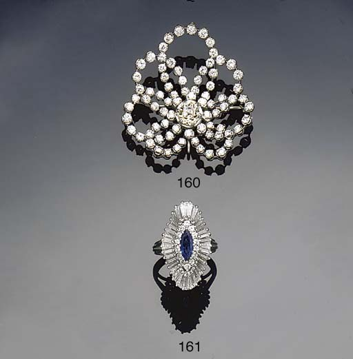 A diamond brooch  pendant