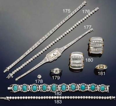 A turquoise and diamond bracel