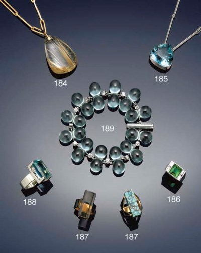 An aquamarine single stone nec