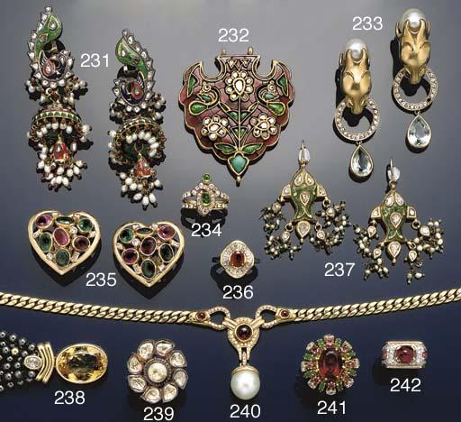 An Indian diamond, gem and ena