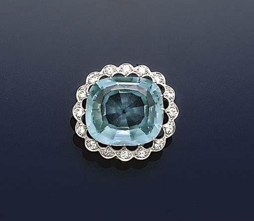 An aquamarine and diamond broo