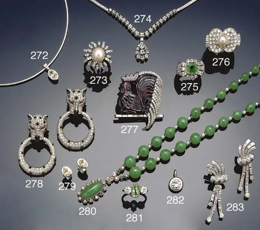 A pair of diamond and gem earpendants