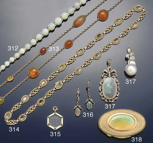 A fire opal necklace