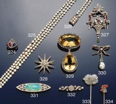 A multi-gem set diamond brooch