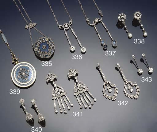 A belle epoque diamond, sapphire and moonstone négligé necklace