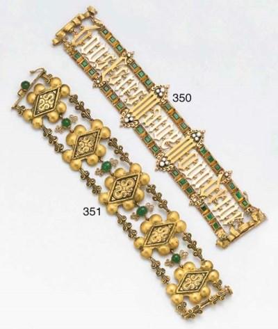 A 20th century emerald set bra