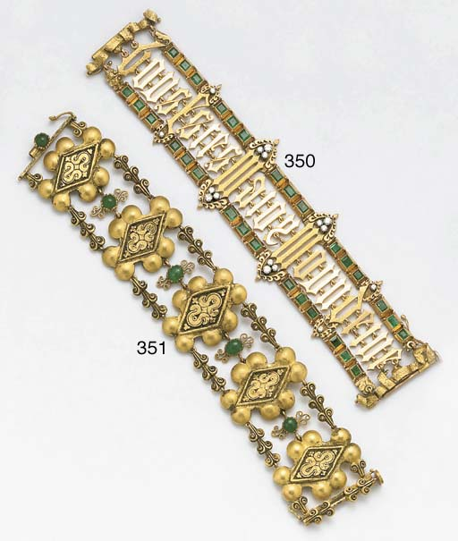 A 20th century emerald set bracelet by Orisa