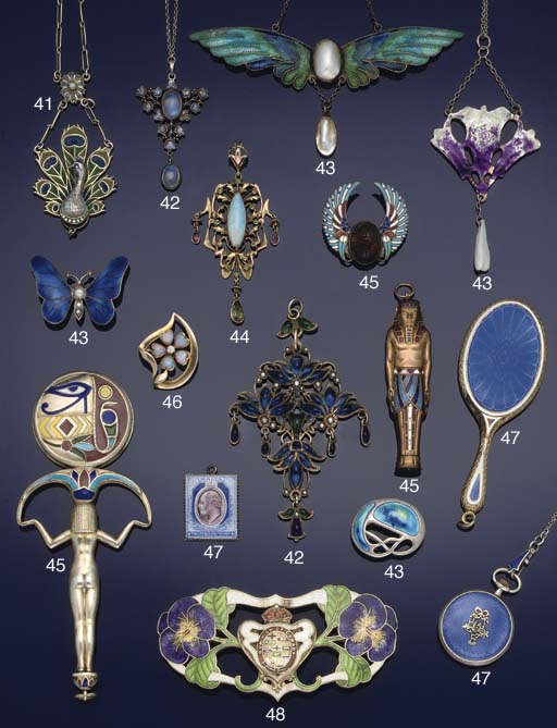 An Art Nouveau silver gilt, en