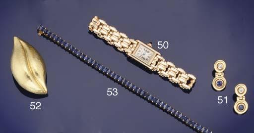 A lady's 18ct. gold mini Tank quartz wristwatch by Cartier