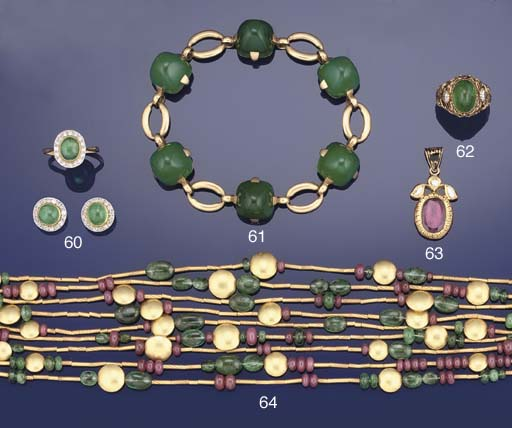 An emerald and ruby set necklace