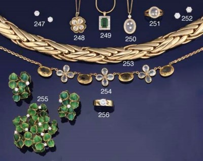 A diamond and enamel brooch an