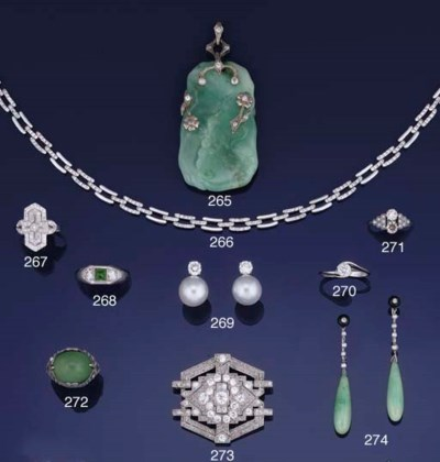 An Art Deco jade and diamond p