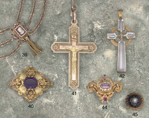 An early 20th century pectoral cross and guard chain