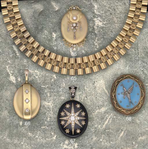 A 19th century gold, enamel and rose-cut diamond brooch