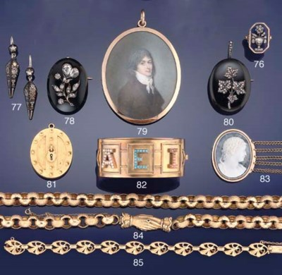 A 19th century gold and gem ba