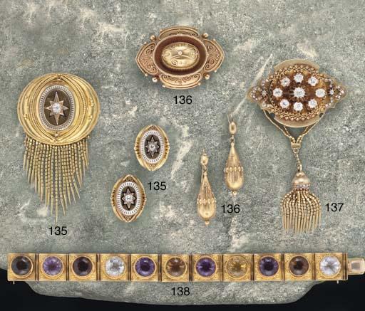 A late 19th century gold, diamond and enamel demi parure