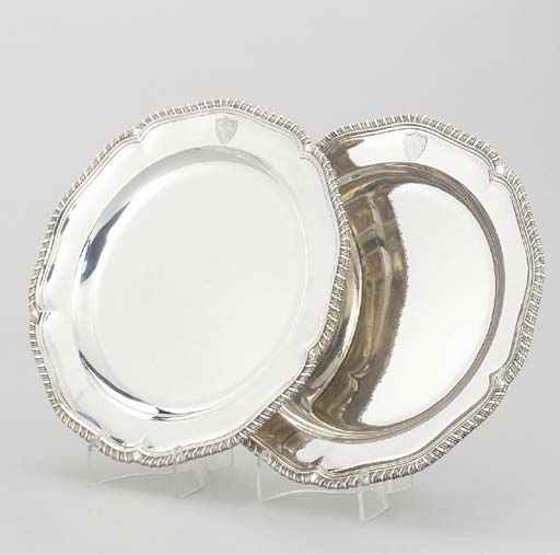 A PAIR OF GEORGE III SILVER PL