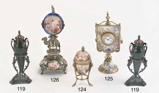 A VIENNESE ENAMELLED CLOCK