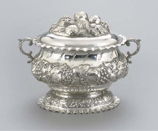 A GERMAN SILVER BOWL AND COVER