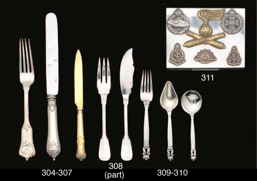 A FRENCH SILVER FISH FLATWARE