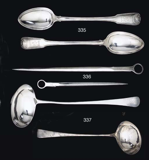 A GEORGE III SILVER SOUP LADLE