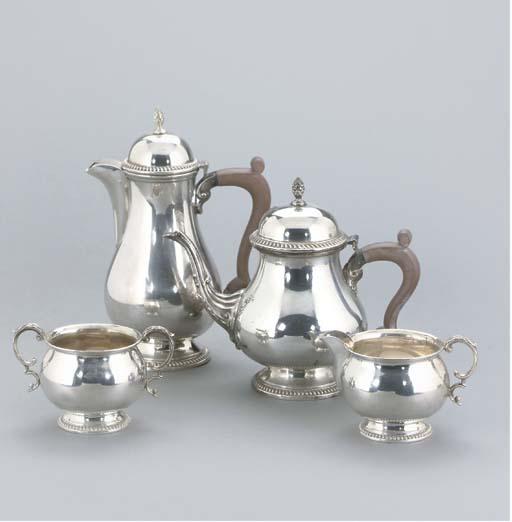 A MODERN FOUR-PIECE SILVER TEA