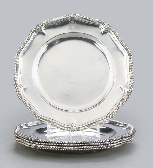 FOUR GEORGE II SILVER DINNER P