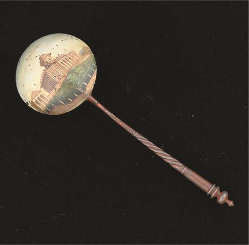 A RUSSIAN COLD PAINTED SPOON