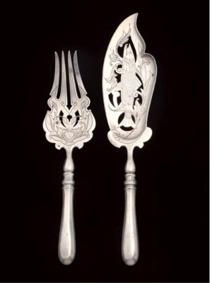 A RUSSIAN SILVER FISH FORK AND