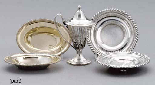 A SET OF FOUR OLD SHEFFIELD PLATE SALT DISHES