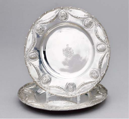 A PAIR OF DECORATIVE GERMAN SILVER PLATES,