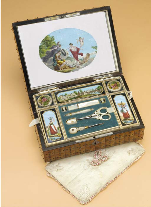 A MUSICAL FRUITWOOD SEWING BOX