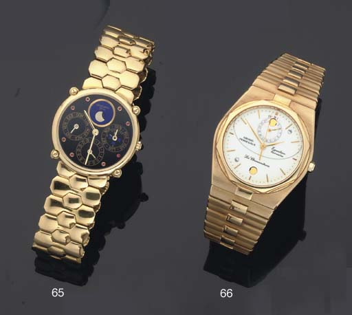 Girard Perregaux. An 18ct Gold Centre Seconds Quartz Wristwatch on Bracelet with date and moonphase