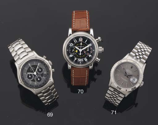 Rolex. A Stainless Steel and White Gold  Automatic Centre Seconds Water Resistant Wristwatch on Bracelet with date