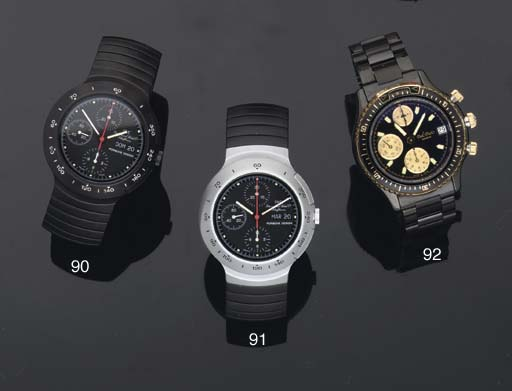 International Watch Co. A Black Finish Water Resistant Automatic Chronograph Wristwatch on Bracelet with day and date