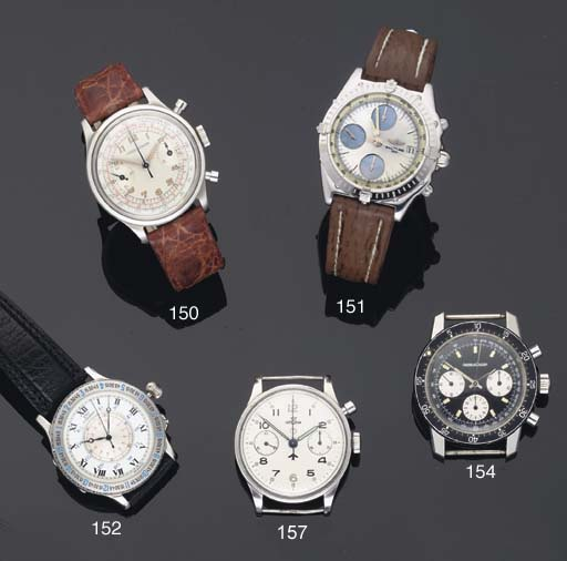 Lemania. A Stainless Steel Military Issue Water Resistant Chronograph Wristwatch
