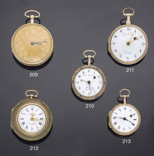 Charles Le Roy. A Gold and Enamel Open Faced Verge Watch
