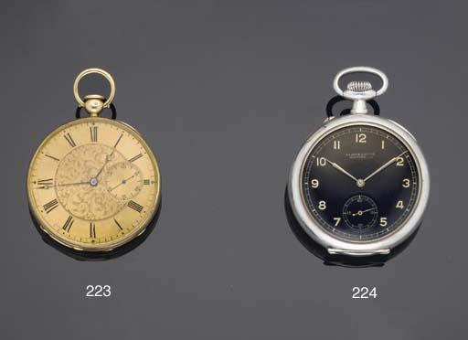 Charles Viner. An 18ct Gold Open Faced Duplex Watch with Pump Winding mechanism