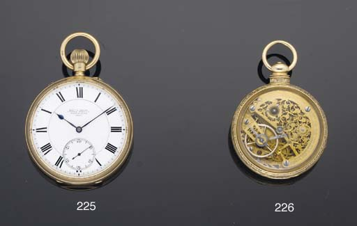 Edward F Ashley. An 18ct Gold Open Faced Free Sprung Keyless Watch