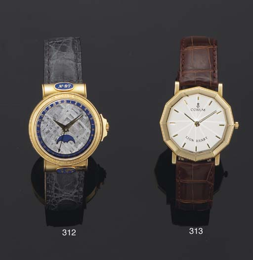 Corum. A 18ct Gold Water Resistant Wristwatch with facetted Crystal