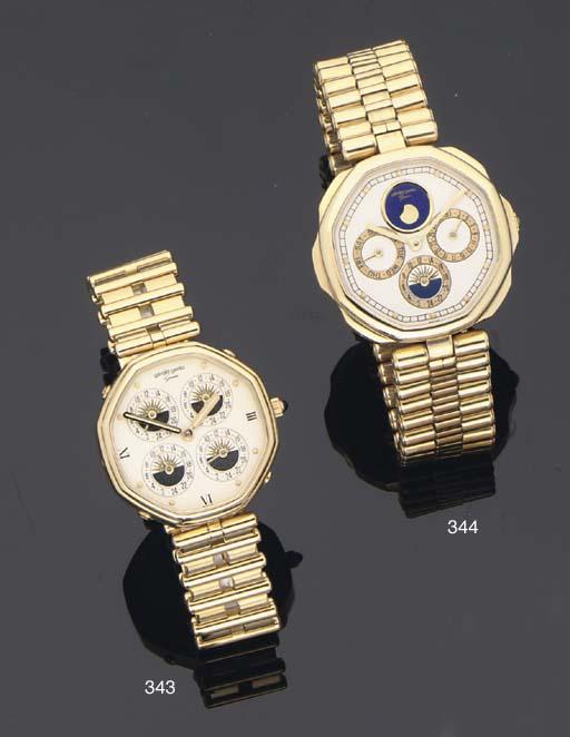 Gerald Genta. An 18ct Gold Octangonal  Quartz Five Time Zone Water Resistant Wristwatch on bracelet