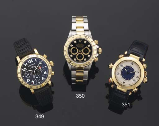 Cartier. An 18ct Gold and gem set Automatic Water Resistant centre seconds wristwatch with counters