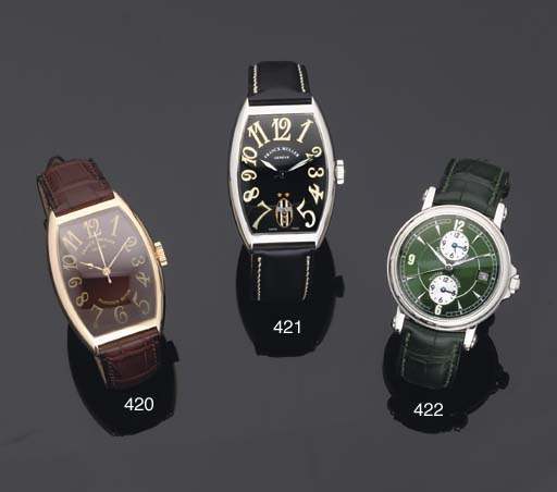 Franck Muller. An Stainless Steel Curved Tonneau Shaped Automatic Centre Seconds Limited Edition Wristwatch