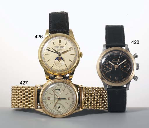 Rolex. A Fine and Rare Large 18ct Gold Automatic Triple Calendar Wristwatch with moonphase